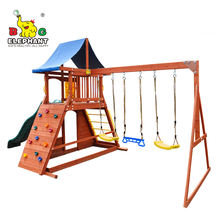 2020 NEW Arrivals Cheap Price Outdoor Wooden Playground Swing Set With Plastic Slide