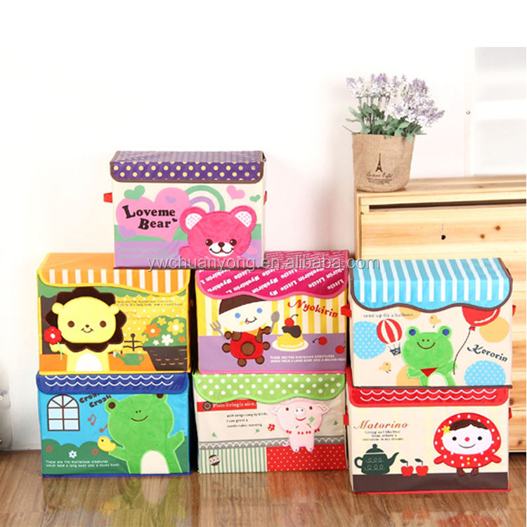 Wholesale Manufacturer Cute Cartoon Foldable 210D Oxford Fabric Kids Toy Storage Box