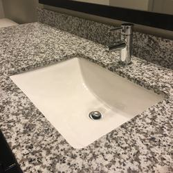 White Granite Cut To Size Countertop with Bathroom Vanity Sink