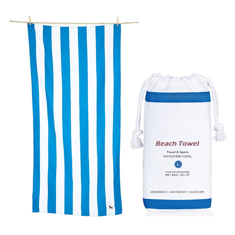 Quick Dry Custom Digital Printed Stripe Microfibre Beach Towel with Mesh Bag
