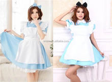 New Alice in wonderland anime cosplay costume Lolita blue dress maid outfit BWG20084