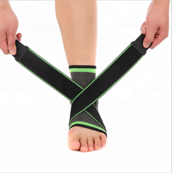 Adjustable breathable compression ankle support brace for running walking