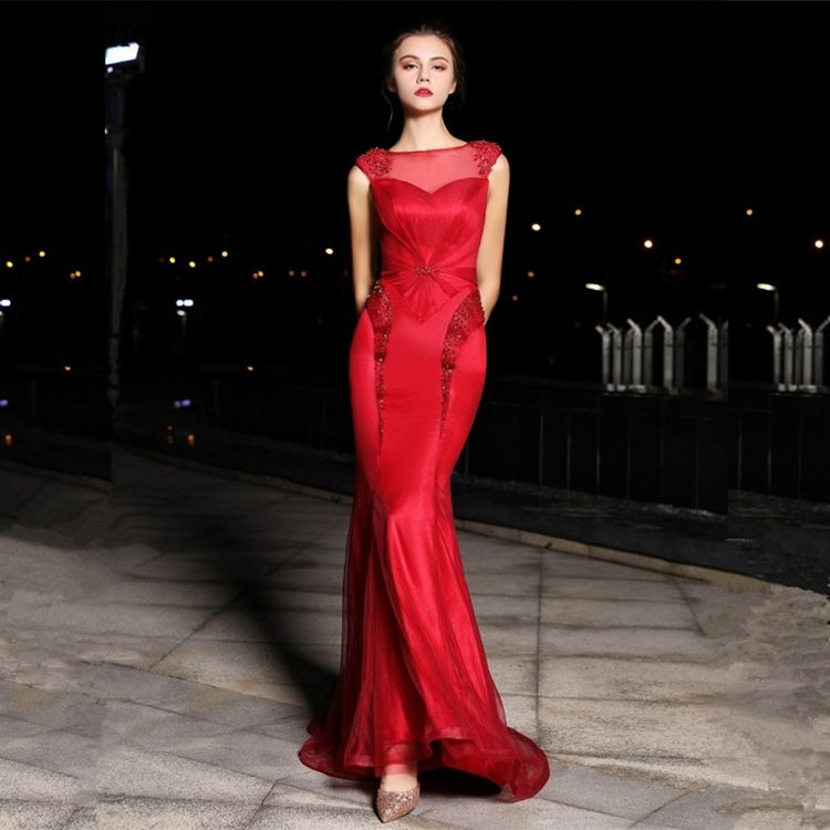 Long o-neck applique tulle red prom dress beaded prom dress sequin mermaid prom dress