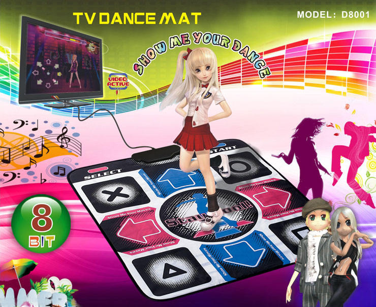 8 Bit TV dancing mat exercise single dance pad with AV cable for TV