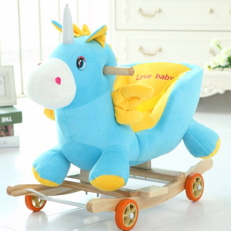 Plush Baby Rocking Chair Children Wood Swing Seat Kids Rocking Animal Toy With Sound