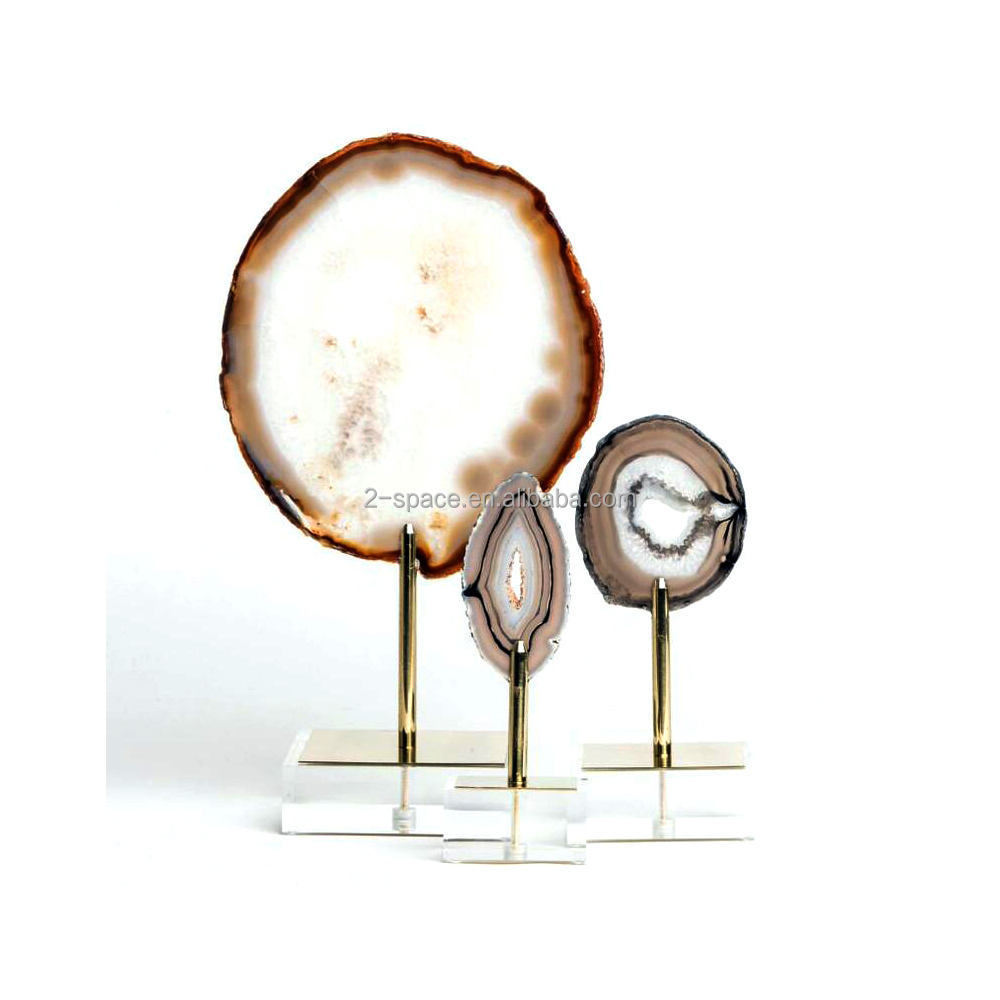 Transparent Floating Minerals decor agate on acrylic and brass stand