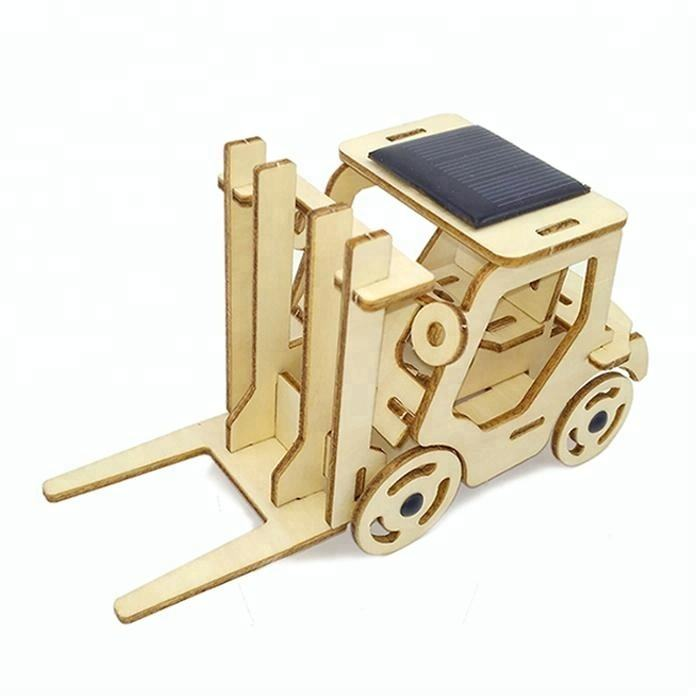 Legno Carrelli Elevatori Di Puzzle Solar Powered Toy Car