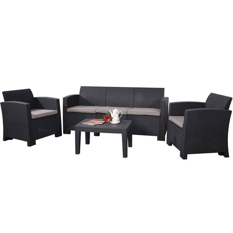 Garden Injected PE Plastic Rattan Outdoor Furniture Sofa Set
