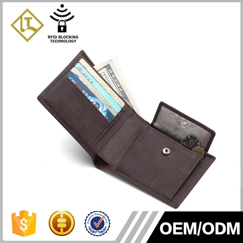 Alta calidad al por mayor RFID bloqueo seguridad cartera con monedero