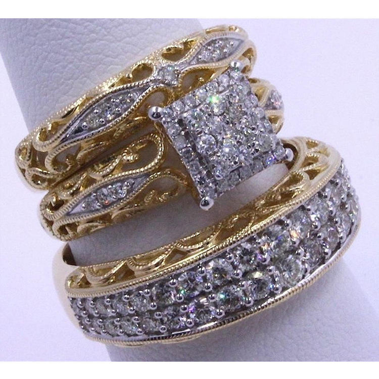 Latest Hollow Design Women 3pcs/set Crystal Finger Ring Set Gold Silver Color Cubic Engagement Ring
