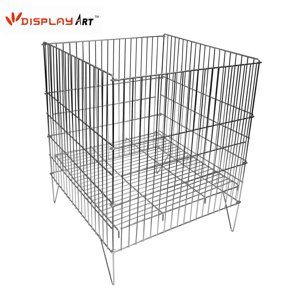 Metal Wire Large Zinc Plated Collapsible Dump Bin for Supermarket