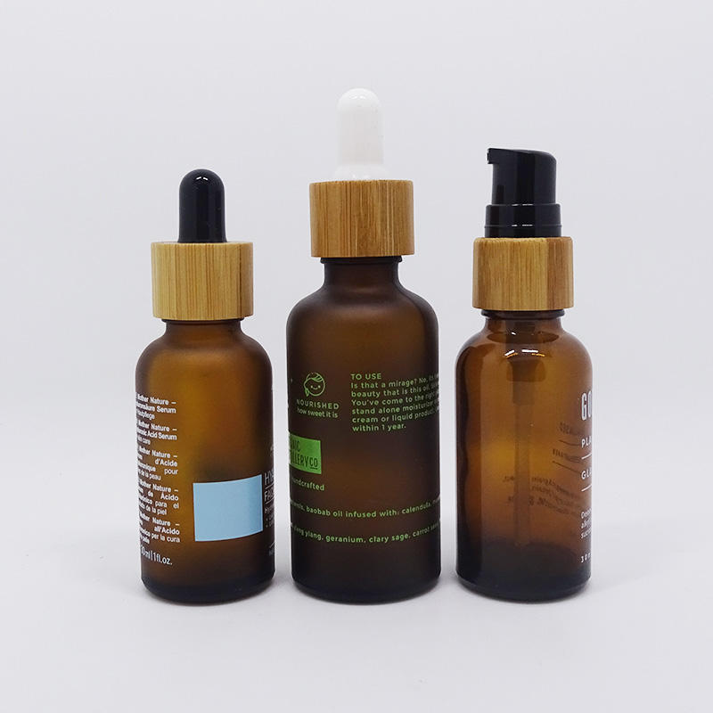 screen printing amber frosted glass essential oil bottle with bamboo dropper and bamboo pump