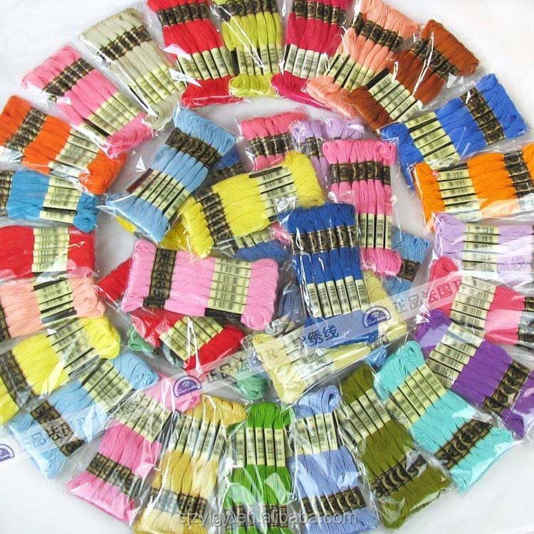 Wholesale cotton threads cross stitch thread for embroidery /sewing 100% cotton thread floss dmc color 447 bags =1 lot