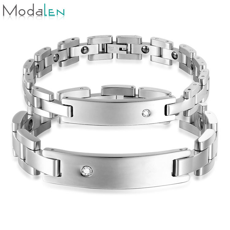 Factory wholesale stainless steel magnetic therapi man bracelet for pain
