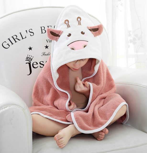 Customized organic cotton newborn baby bath hooded towel