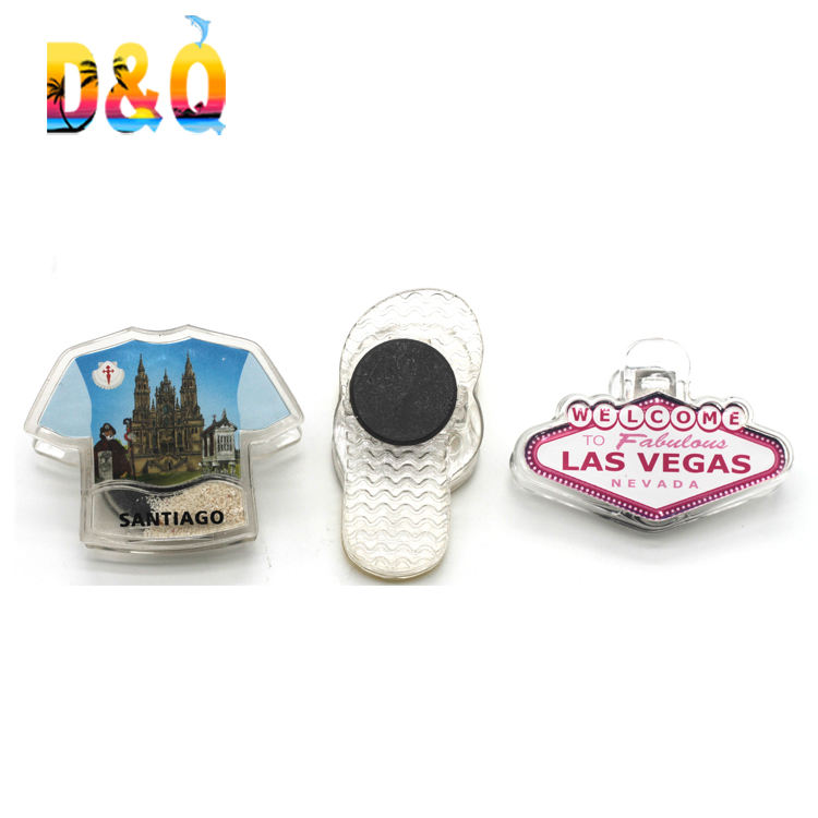 Custom shape acrylic clip flip flop shape plastic clip with fridge magnet