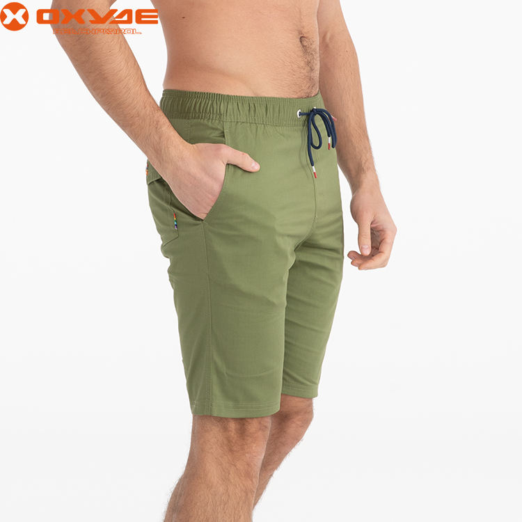 experienced factory made Summer solid short for men male spandex cotton short beach pants mens drawstring board shorts