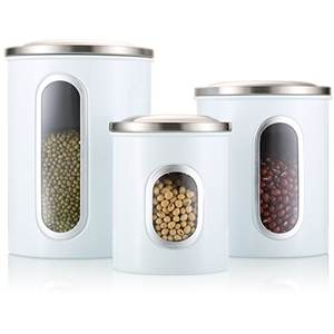 흰 색 Stainless Steel 창 Storage Canister Set 와 촛불 항아리