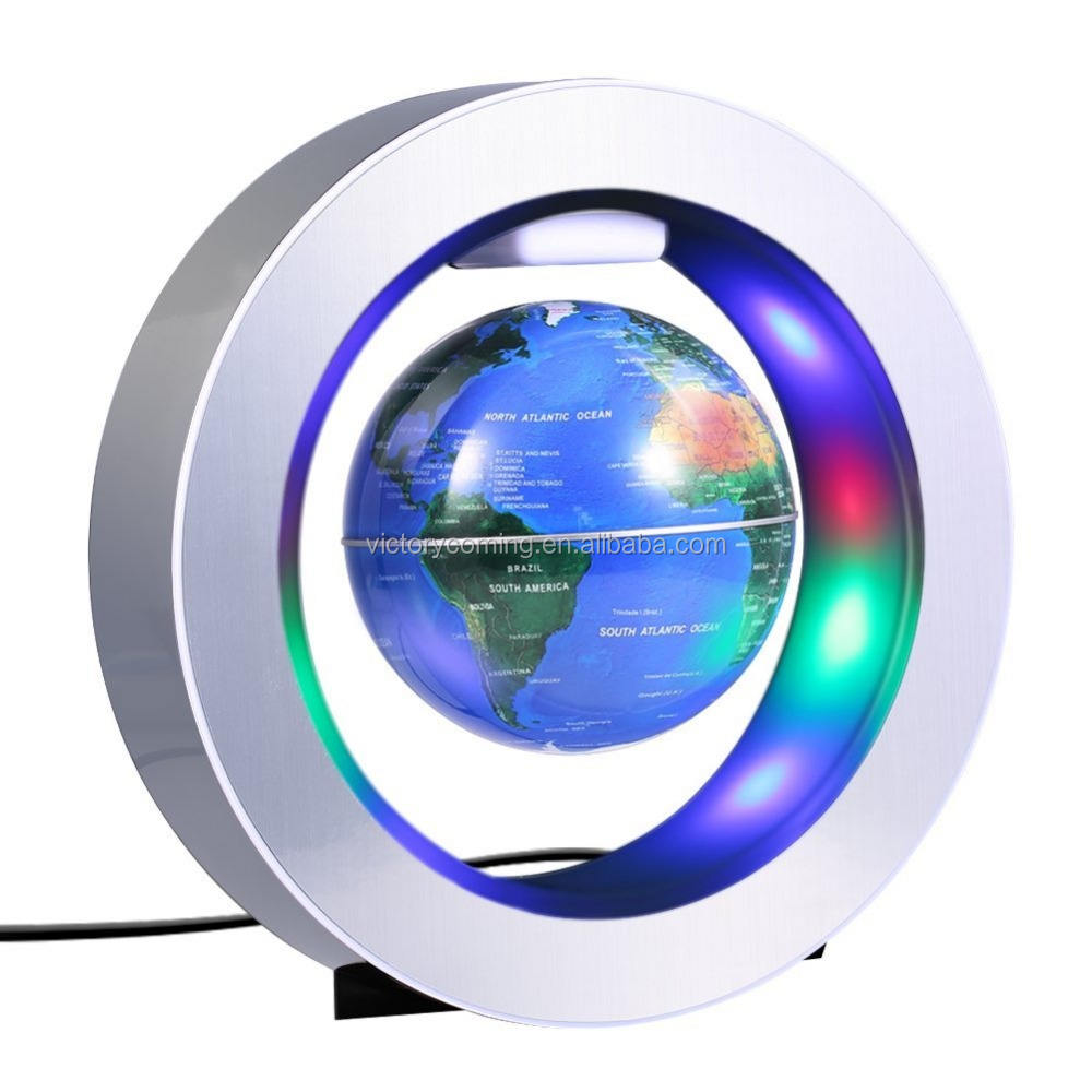 "Magnetic Floating Globe, 4'' Circular Frame Rotating Levitating Globe ""O"" Shape Anti-Gravity Colorful LED World Map"
