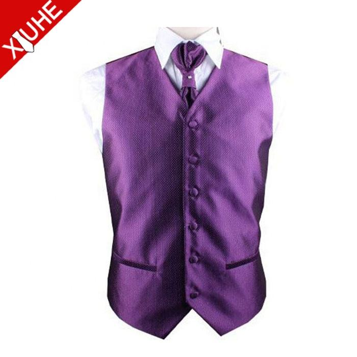 Gentle Wedding Purple Polyester Vest Restaurant Waiter Vest & Waistcoat for Men