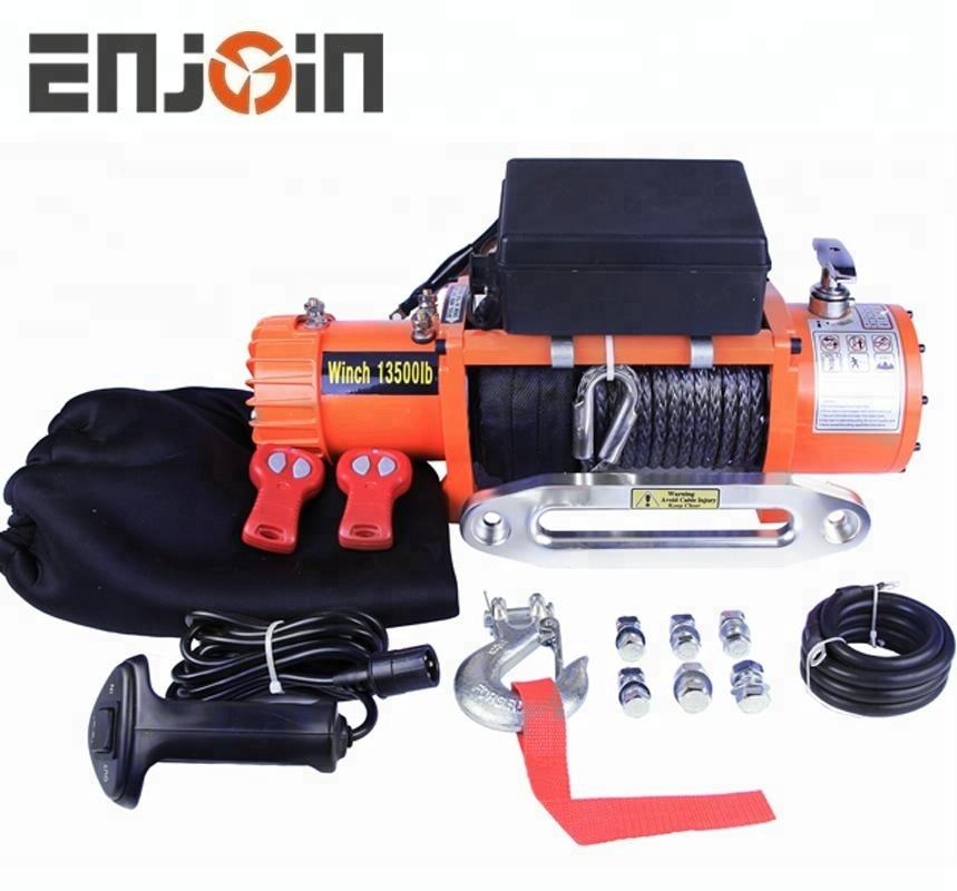 ENJOIN 1 electric winch 13500 lbs 12v with cable or strap 4x4 recovery off road winch