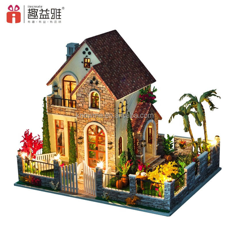 2019 educational toys handmade miniature house puzzle with furniture/wooden dollhouse led