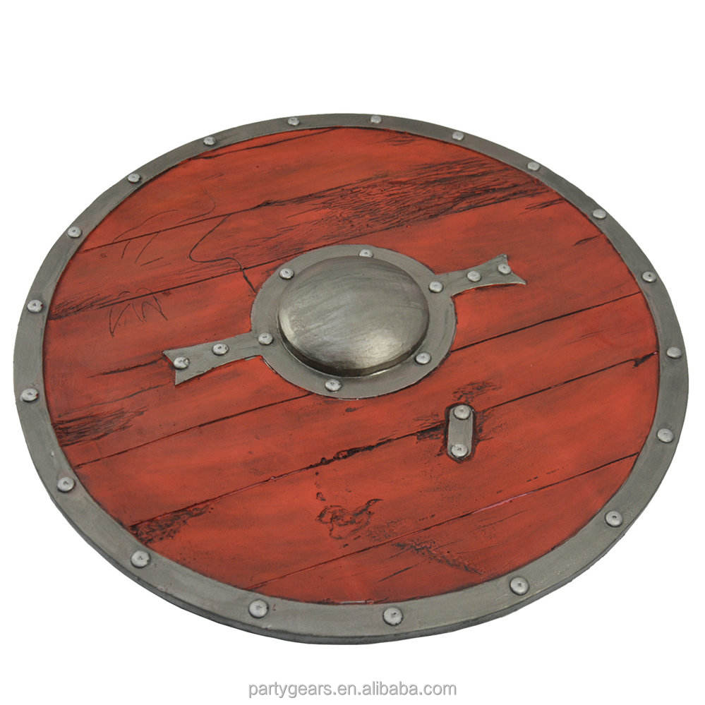 China Factory Safe Realistic Props Role Play Wooden Toy Viking Shield