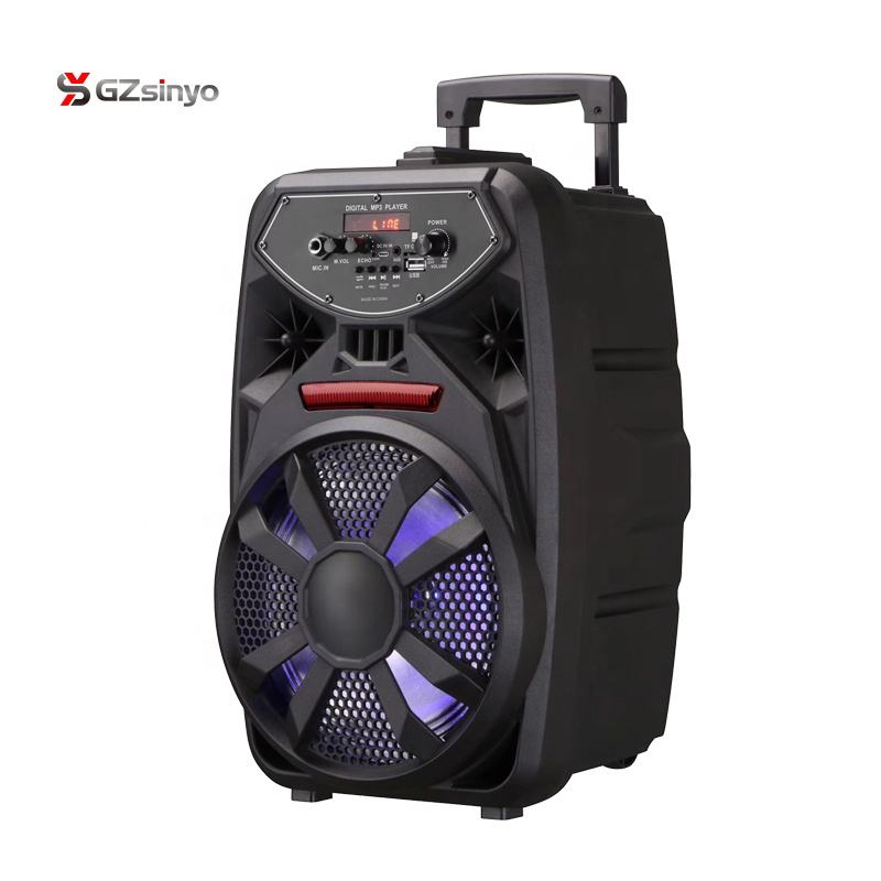 8 Inch Rechargeable Portable Amplifier Speaker dengan Mikrofon dan Disco Light