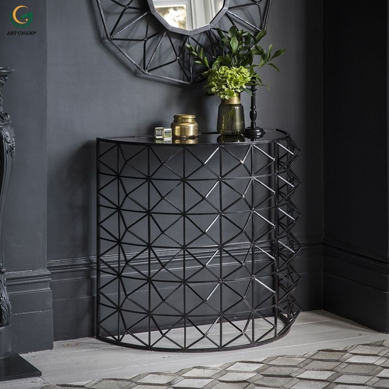 Semicircle Metal Black Wire Entry Console Table