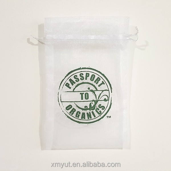 cheap custom printed organza tea bag/organza pouch