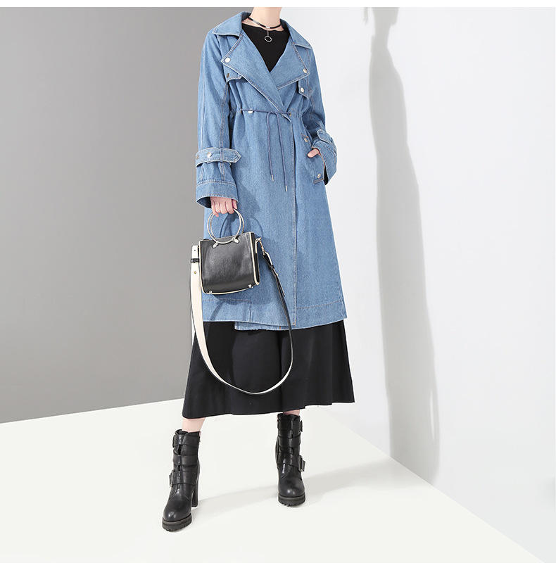 Wholesale Spring Autumn Solid color long sleeves waist denim trench coat