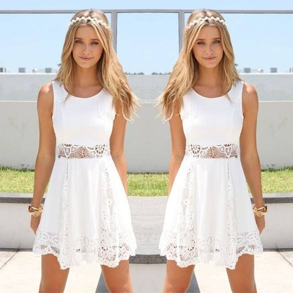 Bestdress party design clothes Stylish Lady Women Fashion Lace Patchwork Casual White Short Dress SV014224