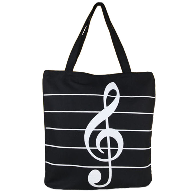 Women Canvas Shopping Bag Musical Note Printing Tote Pouch Folding Girls Casual High Capacity Shoulder Bag
