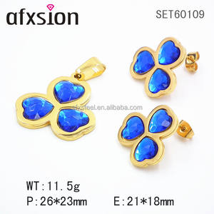 Blue Crystal clover stainless steel jewelry set for women