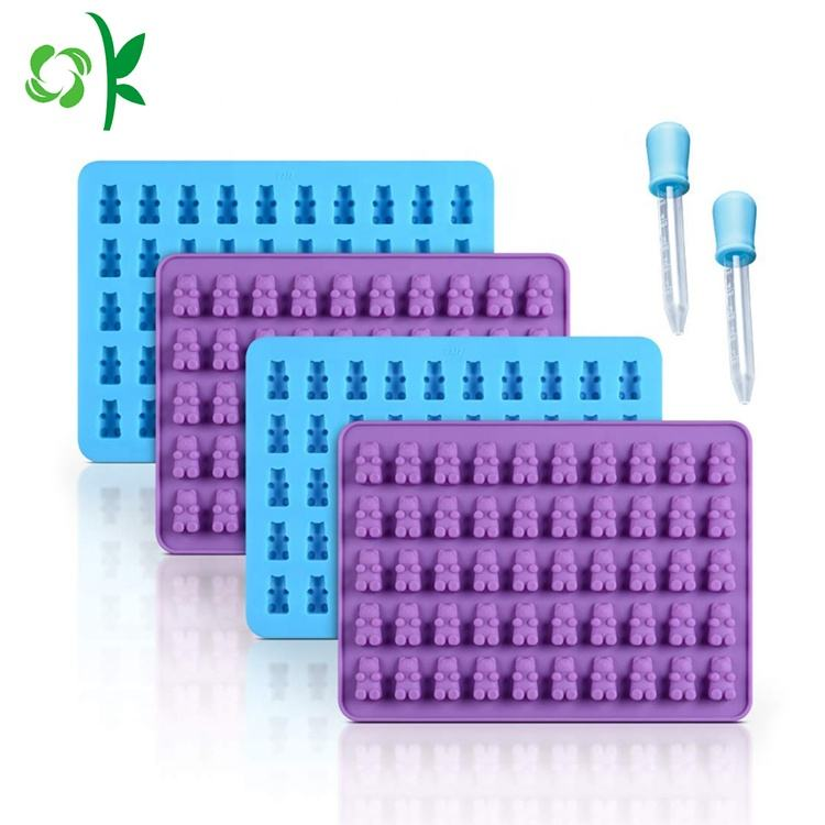 OKSILICONE 50 Hohlraum Cartoon Bär Ice Tray Silikon Mold Food Grade Gum Fondant Form Süßigkeiten Silikon Form Für die Herstellung Von Süßigkeiten