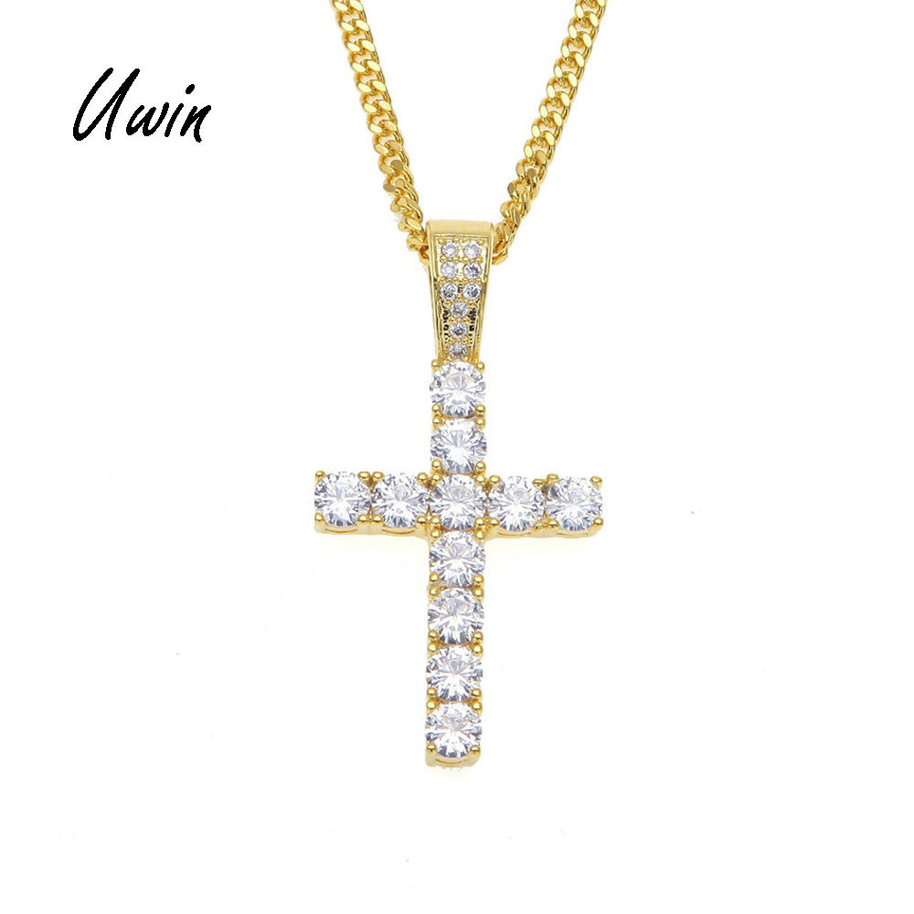 UWIN Hiphop Gold Plated Iced Out Cross Custom Silver Gold Color Diamond CZ Cross Pendant