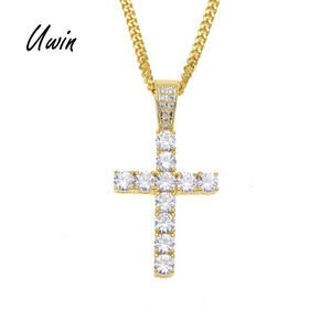 Uwin Hiphop Vergulde Iced Out Cross Custom Zilver Goud Kleur Diamond Cz Kruis Hanger