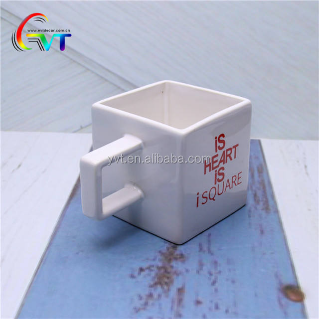 China Manufacturer Custom LOGO Cheap Square Ceramic coffee mugs