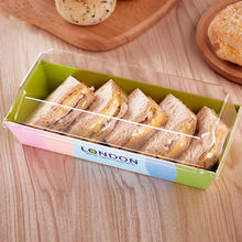 Hot sale paper box packaging for biscuit and cake with clear plastic lid