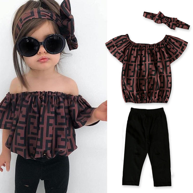 China Supplier Children Wears Girls Clothing Sets Kids Letter Print Offshoulder And Pant Fashion 3 Pcs Casual Sets