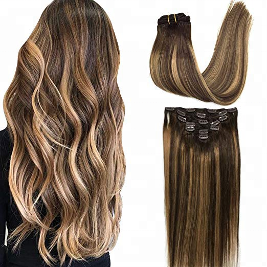 Wholesale Virgin Remy Ombre Chocolate Brown to Honey Blonde Balayage Clip in Hair Extensions