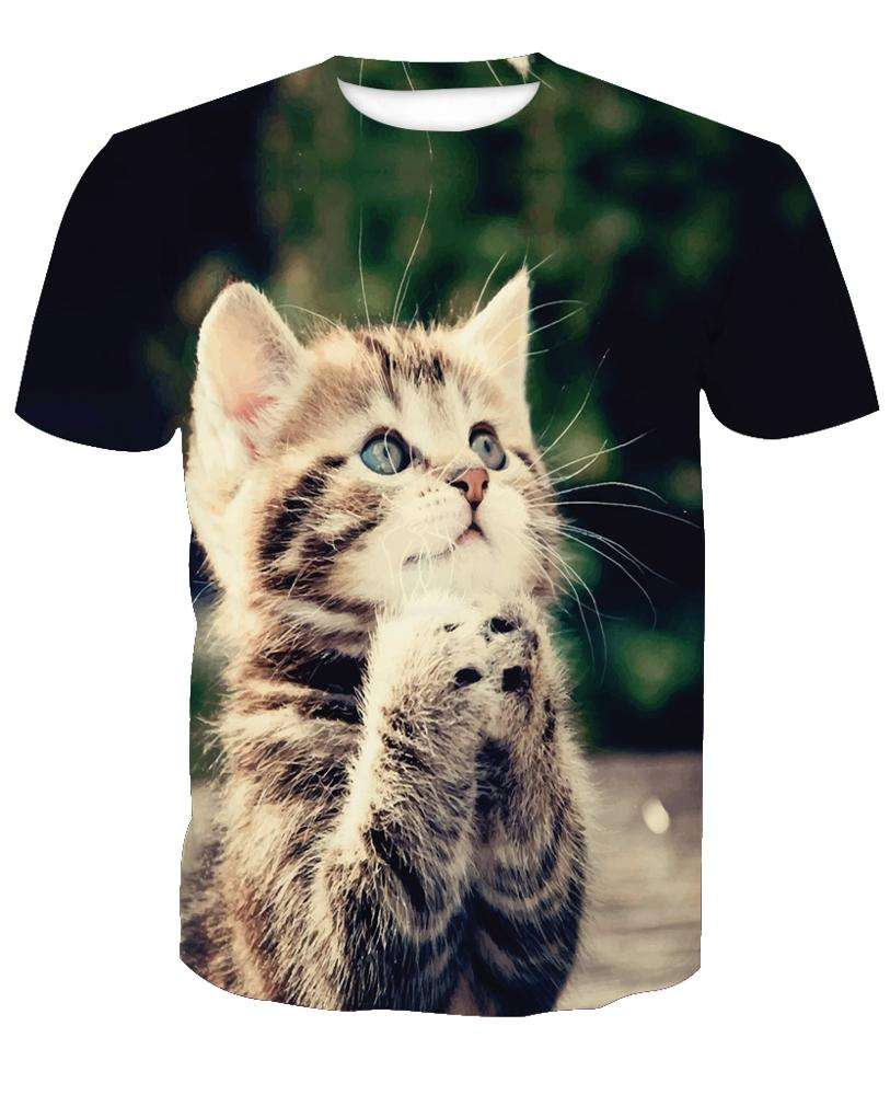 Dropship Wholesale All Over Sublimation Cat T Shirt 3D, Print On Demand Dropship No Minimum Order Custom Logo Tshirt/