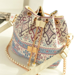 2019 Chic New Arrival Korea fashion Bohemia Style Canvas Drawstring Bucket Bag Pearl rope single Shoulder Handbags