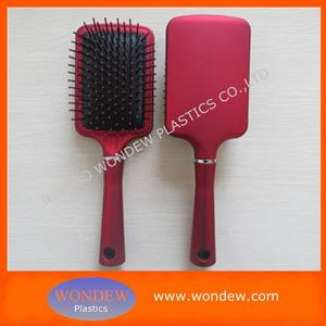 Red rubber coating paddle brush / Promotional hair brush