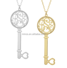 Key Monogram Necklaces Yellow Gold Women Monogram Necklace