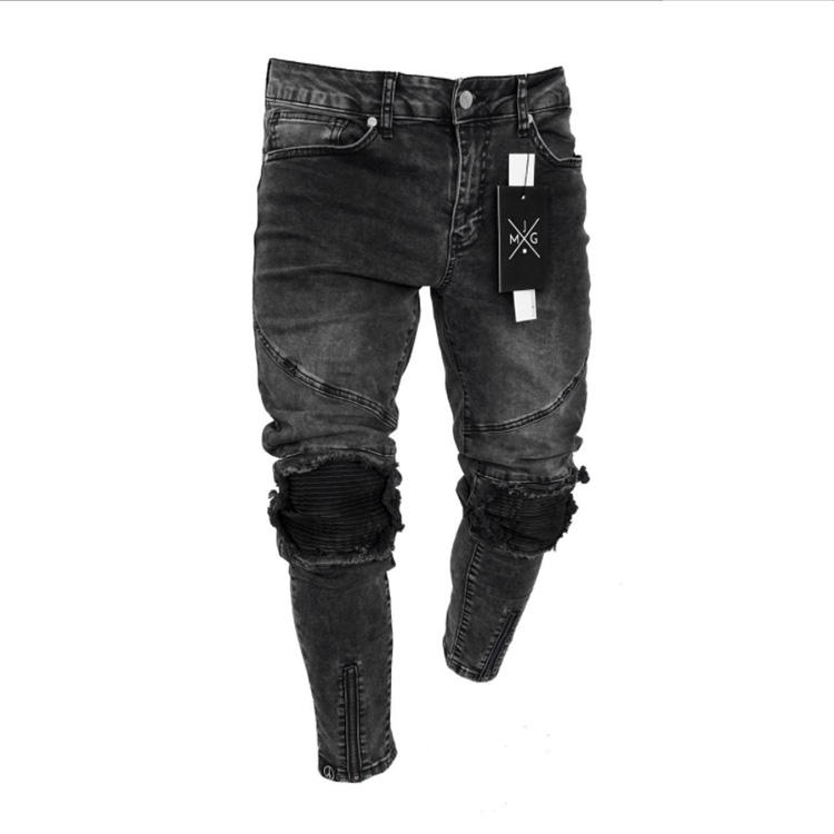High quality black jeans Elastic damage pants denim ripped patch splice jeans Ankle jogging streetwear fashion male trousers