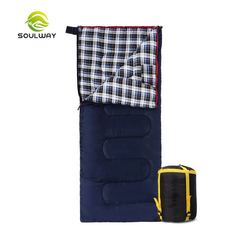 Custom Made High Quality Best Wider Larger Navy Blue Warm Flannel Envelope Style Indoor Adult Sleeping Bag