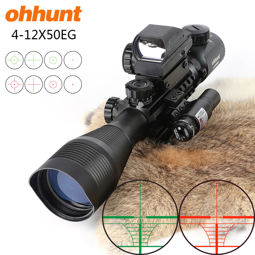 Ohhunt Combo Rifle Scope 4-12X50 Red Green Illuminated Rangefinder Reticle Crossbow Hunting Scope Riflescope with Lasers Red Dot