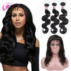 xblhair new hot selling indian body wave 360 lace frontal with bundles