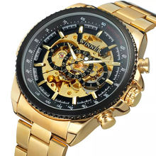WINNER Brand 428 Luxury Gold Men Watches Cool Mechanical Automatic Wrist Watches Stainless Steel Band Male Skeleton Clock